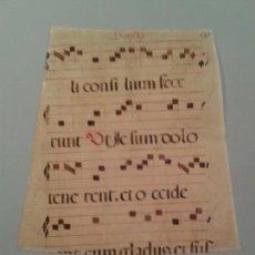 Manuscritos antiguos: FRAGMENTO DE CANTORAL MINIADO EN PERGANIMO. 350X290 MM TRAPEZOIDAL.. Lote 138695242