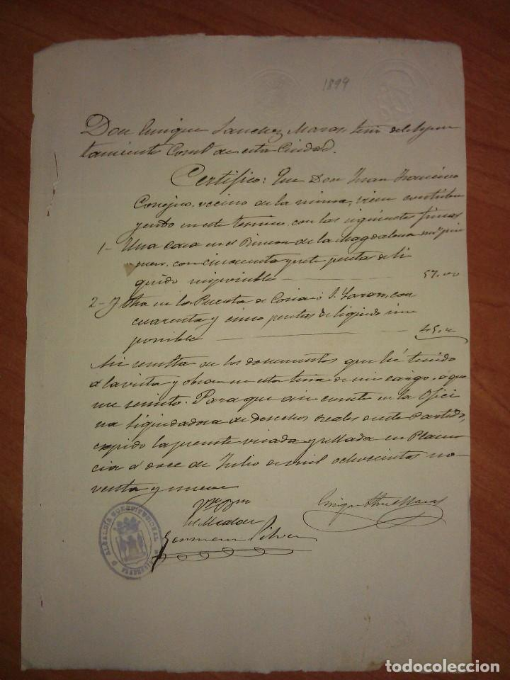 1899 DOCUMENTO POR PRECISAR - PLASENCIA ?? (Coleccionismo - Documentos - Manuscritos)