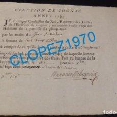 Manuscritos antiguos: COGNAC, FRANCIA, 1762, RECIBO MANUSCRITO. Lote 139405502