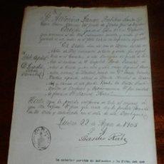Manuscritos antiguos: CERTIFICADO O PARTIDA DE DEFUNCION DE ESPAÑOL PENINSULAR FALLECIDO EN LUCBAN, TAYABAS, FILIPINAS, CA. Lote 140563410