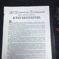 Manuscritos antiguos: GENERAL TORRIJOS MONUMENTO FUNERARIO MALAGA. Lote 140691968