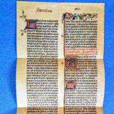 Manuscritos antiguos: FACSIMIL DE UNA HOJA EN LATÍN DE LA BIBLIA DE GUTEMBERG ( 1455 ) KONVERSATION - LEXICÓN DE MEYER. Lote 140761402
