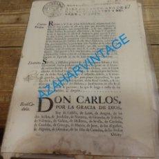 Manuscritos antiguos: 1766, ORDEN REAL PROHIBIENDO A LOS RELIGIOSOS HABLAR MAL DE LA MONARQUIA, 4 PAGINAS. Lote 141221698