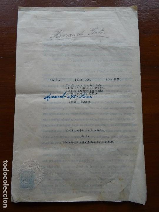 PERÚ, MINAS, FAMILIA GOYENECHE ESTATUTOS SOCIEDAD MINERA ALPAMINA, YAULI, JUNÍN, PLATA, 1939, 24 PAG (Coleccionismo - Documentos - Manuscritos)