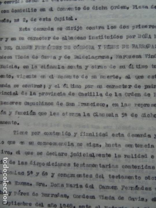Manuscritos antiguos: Demanda Duquesa Medina Rioseco vs Capuchinos impugnando testamento Condesa de Gavia, 1949 - Foto 2 - 141548766