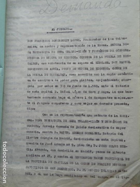 DEMANDA DUQUESA MEDINA RIOSECO VS CAPUCHINOS IMPUGNANDO TESTAMENTO CONDESA DE GAVIA, 1949 (Coleccionismo - Documentos - Manuscritos)