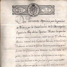 Ancient Manuscripts: CORUÑA, 1822, TÍTULO DE ABOGADO. RARO SELLO DE PLACA CONSTITUCIONAL DE FERNANDO VII. 6 PÁGINAS.. Lote 141804562
