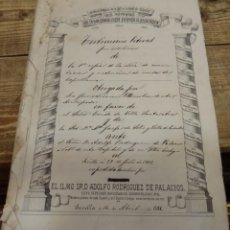 Manuscritos antiguos: SEVILLA,1881, ESCRITURA CONSTITUCION CAPELLANIA PARROQUIA SAN VICENTE, CONDE DE SANTA ANA, SANLUCAR . Lote 141820114