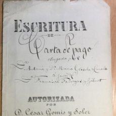 Manuscritos antiguos: ESCRITURA CARTA DE PAGO FECHADA EL EL 8 DE MAYO D 1900 EN BARCELONA. Lote 142781894
