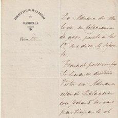 Manuscritos antiguos: DOCUMENTO MANUSCRITO ADMINISTRACION ADUANA DE MARBELLA 1907 NOTIFICA A SAN PEDRO DE ALCANTARA -D-9. Lote 143048582
