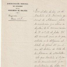 Manuscritos antiguos: DOCUMENTO MANUSCRITO AD. ADUANA PRO. MALAGA 1907 NOTIFICA A SAN PEDRO DE ALCANTARA -D-9. Lote 143048922