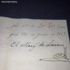Manuscritos antiguos: ZARAGOZA. FIRMA DEL MARQUÉS DE LAZAN. LUIS DE REBOLLEDO DE PALAFOX Y MELZI. 1817.. Lote 143180234