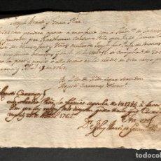 Manuscritos antiguos: 1762 ÀPOCA - PAGARÉ - UNA LLIURA Y DOTZE SOUS - CATALÁ - CATALÁN - BARCELONA . Lote 144048650