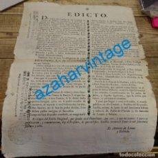 Manuscritos antiguos: SEVILLA, 1768, EDICTO PARA REPARTIMENTO DE DEHESAS EN LA PROVINCIA DE SEVILLA,30X41 CMS, ESPECTACULA. Lote 144101478