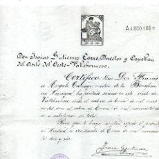 Manuscritos antiguos: CERTIFICADO DE QUE UN MÉDICO DE LA BENEFICIENCIA TRABAJÓ EN EL ASILO DE VALLEHERMOSO, 1916.. Lote 144240214