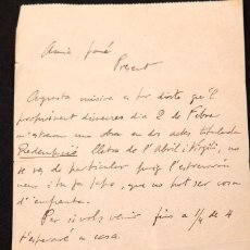 Manuscritos antiguos: CARTA MANUSCRITA D´ISIDRE MOLAS I FONT. Lote 144561498
