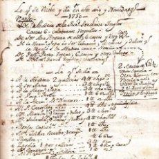 Manuscritos antiguos: MANUSCRITO CONVENTO DE LA PURIDAD VALENCIA 1750 REGALOS DE NAVIDAD CASCA DULCE CHOCOLATE SIGLO XVIII. Lote 144683382