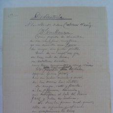 Manuscritos antiguos: SEMBLANZA ... POEMA MANUSCRITO DEDICADO A SEÑORITA. SIGLO XIX. Lote 144694330