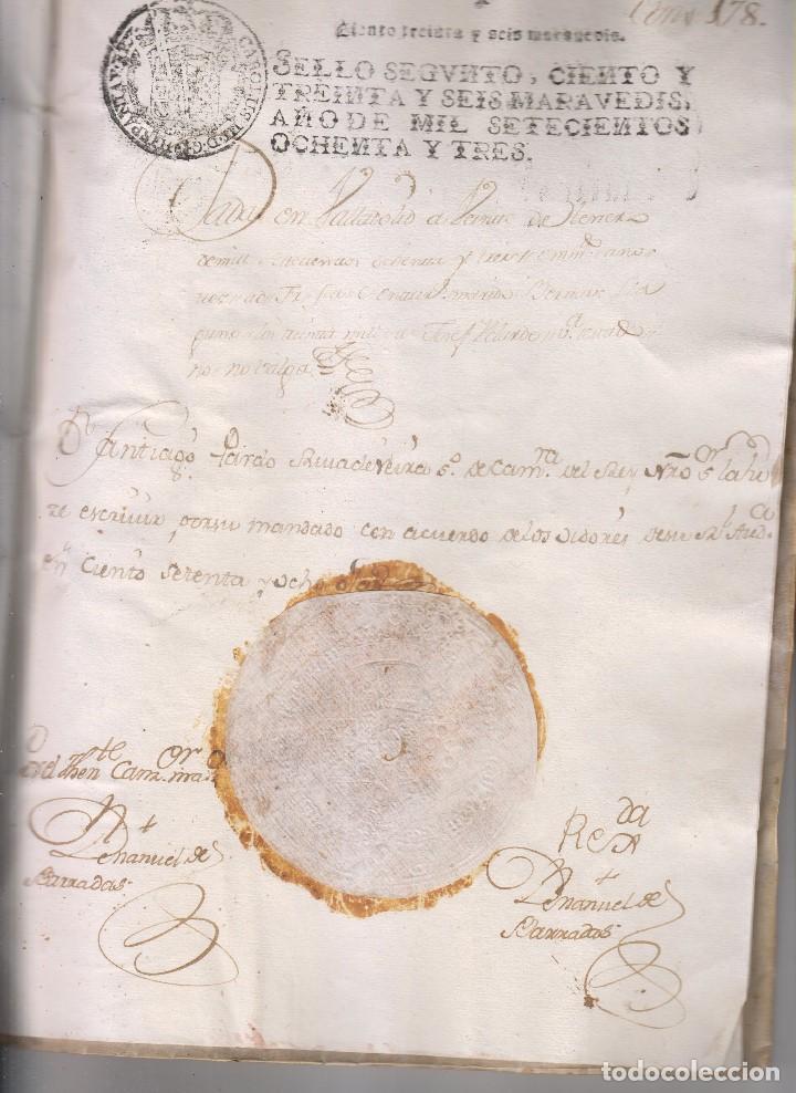 Manuscritos antiguos: REAL CARTA EJECUTORIA DE CAPELLANÍA REAL EN TERÁN, VALLE DE CABUÉRNIGA, CANTABRIA 1783 - Foto 3 - 145192382