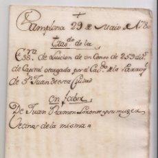 Manuscritos antiguos: IGLESIA DE SAN JUAN BAUTISTA DE PAMPLONA. CENSO DE UNA CAPELLANÍA. 1780. Lote 145911178
