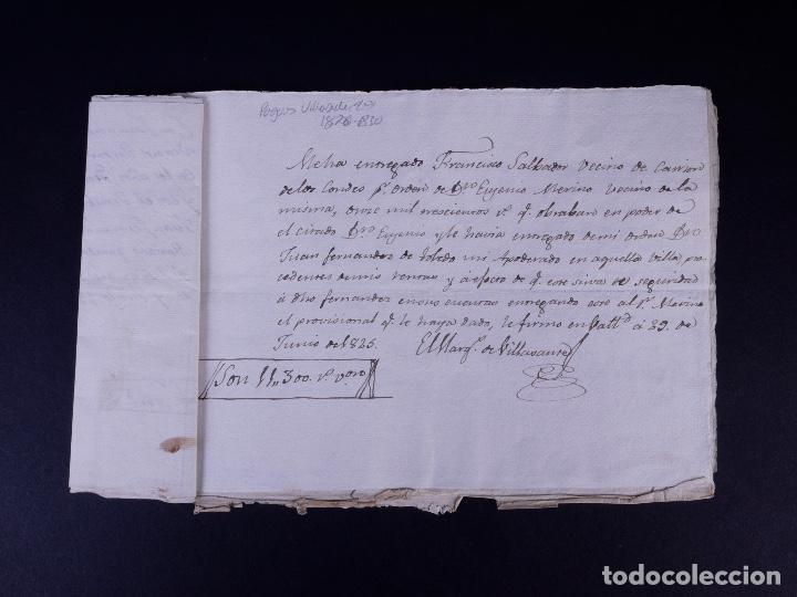 Manuscritos antiguos: MARQUÉS DE VILLASANTE. CARRION DE LOS CONDES 1825 - Foto 2 - 145997342