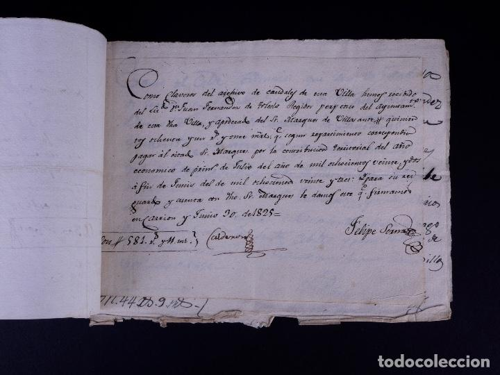 Manuscritos antiguos: MARQUÉS DE VILLASANTE. CARRION DE LOS CONDES 1825 - Foto 3 - 145997342