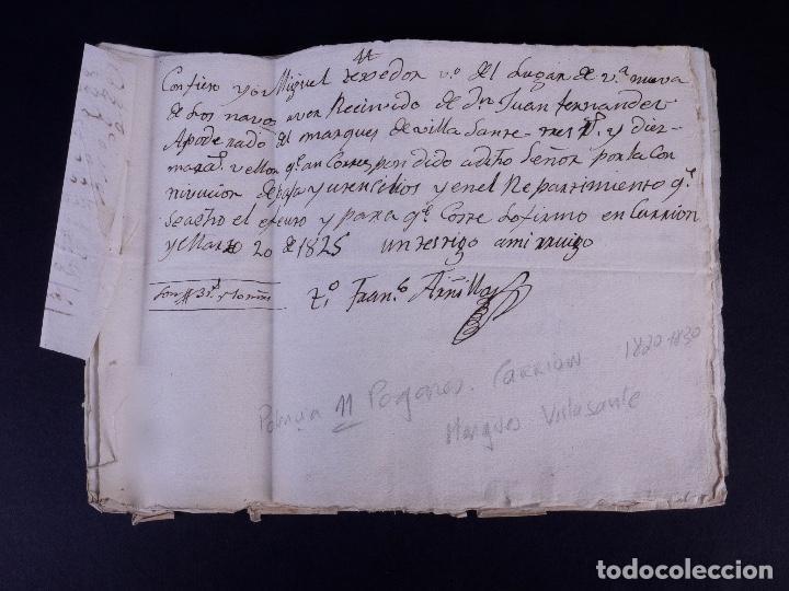 Manuscritos antiguos: MARQUÉS DE VILLASANTE. CARRION DE LOS CONDES 1825 - Foto 10 - 145997342
