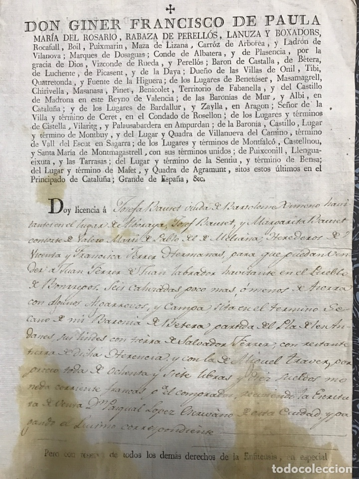 VALENCIA. BÉTERA.1811. MARQUÉS DE DOS AGUAS (Coleccionismo - Documentos - Manuscritos)
