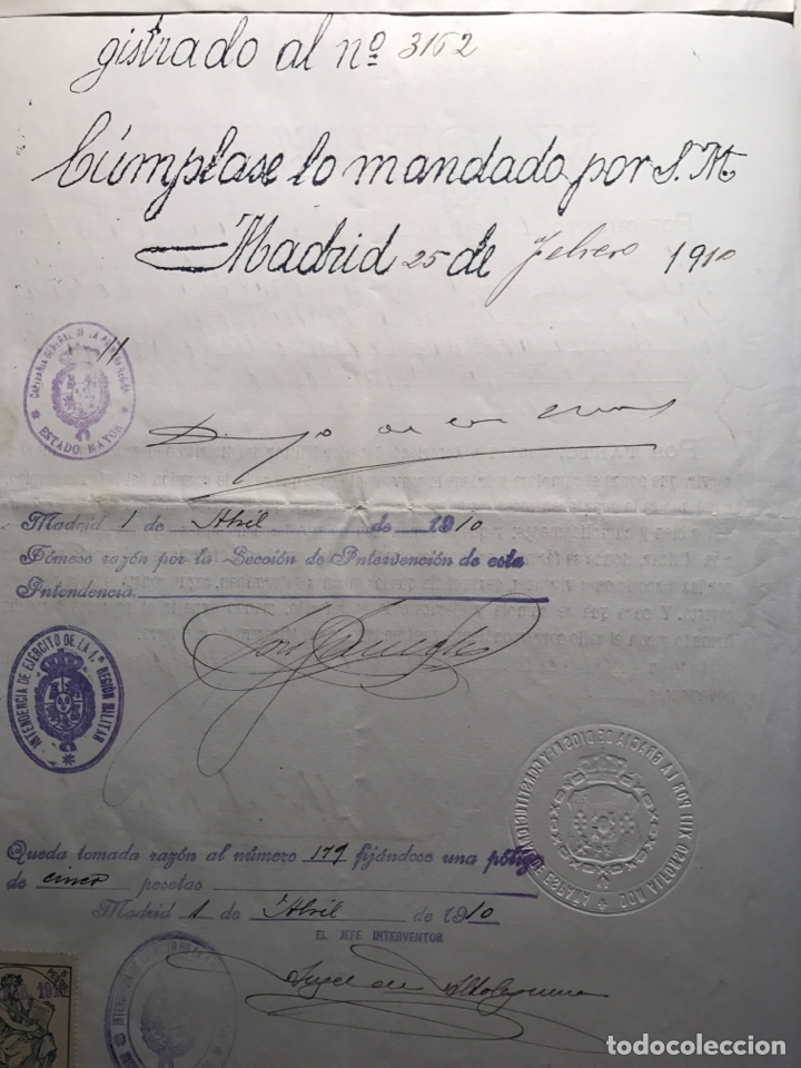 Manuscritos antiguos: Alfonso XIII. Firma Real estampillada.1909.Nit - Foto 2 - 146676682
