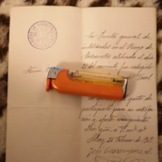 Manuscritos antiguos: RIEGO DE MASCARELLES, ALCOY, 1909, JUNTA GENERAL ELECCIÓN VOCAL. MUY RARO.. Lote 146809262