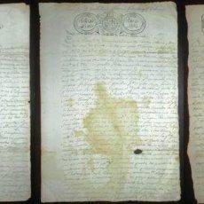 Manuscritos antiguos: TRES DOCUMENTOS DE VENTA DE TIERRAS EN PRAVIA, ASTURIAS. 1833-36. ENTERO FISCAL SOBRECARGA ISABEL II. Lote 147315458