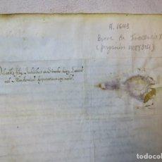 Manuscritos antiguos: PERGAMINO MANUSCRITO - BREVE DE INOCENCIO X - 1649 ROMA, DESPACHADO POR BARTOLOME RODRIGUEZ RIVERA+. Lote 147396314