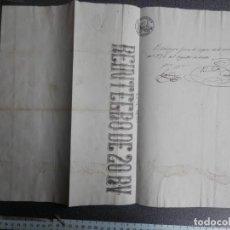 Manuscritos antiguos: SELLO FISCAL REINTEGRO 20 REALES EN HOJA COMPLETA RARO SIGLO XIX. Lote 147590754