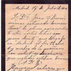 Manuscritos antiguos: CARTA PERSONAL MANUSCRITA MADRID 14 DE JULIO DE 1891. Lote 147630582