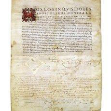 Manuscritos antiguos: INQUISICIÓN. LLERENA 1609. BADAJOZ. DOCUMENTO ORIGINAL PERGAMINO NOMBRAMIENTO FAMILIAR SANTO OFICIO. Lote 147797392