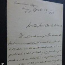 Manuscritos antiguos: ALATOZ ALBACETE CARTA DEL ALCALDE A PRESIDENTE DIPUTACION PROVINCIAL PAGO IMPUESTOS 1902. Lote 147870806