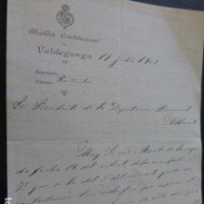 Manuscritos antiguos: VALDEGANGA ALBACETE CARTA DEL ALCALDE A PRESIDENTE DIPUTACION PROVINCIAL PAGO IMPUESTOS 1902. Lote 147871190