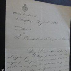Manuscritos antiguos: VALDEGANGA ALBACETE CARTA DEL ALCALDE A PRESIDENTE DIPUTACION PROVINCIAL PAGO IMPUESTOS 1902. Lote 147871318