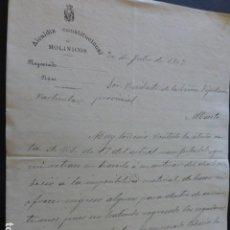 Manuscritos antiguos: MOLINICOS ALBACETE CARTA DEL ALCALDE A PRESIDENTE DIPUTACION PROVINCIAL PAGO IMPUESTOS 1902. Lote 147871714