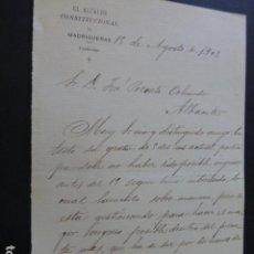 Manuscritos antiguos: MADRIGUERAS ALBACETE CARTA DEL ALCALDE A PRESIDENTE DIPUTACION PROVINCIAL PAGO IMPUESTOS 1902. Lote 147872114