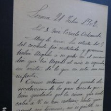 Manuscritos antiguos: LEZUZA ALBACETE CARTA DEL ALCALDE A PRESIDENTE DIPUTACION PROVINCIAL PAGO IMPUESTOS 1902. Lote 147872362