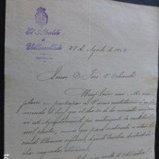 Manuscritos antiguos: VILLARROBLEDO ALBACETE CARTA DEL ALCALDE A PRESIDENTE DIPUTACION PROVINCIAL PAGO IMPUESTOS 1902. Lote 147873726