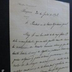 Manuscritos antiguos: BOGARRA ALBACETE CARTA DEL ALCALDE A PRESIDENTE DIPUTACION PROVINCIAL PAGO IMPUESTOS 1902. Lote 147875782