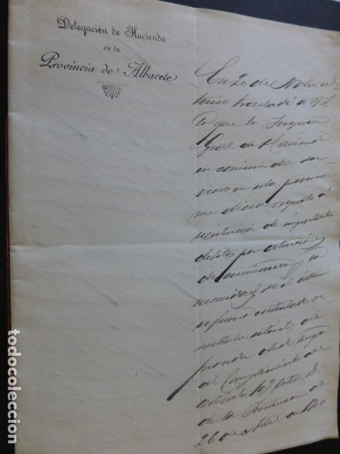 ALBACETE DELEGACION DE HACIENDA CARTA DIRIGIDA POR DELEGADO AL PRESIDENTE DIPUTACION PROVINCIAL 1903 (Coleccionismo - Documentos - Manuscritos)