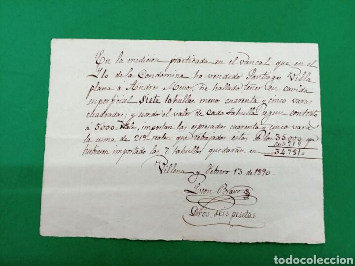 MANUSCRITO DE MEDICIÓN DE TIERRA 1890 VILLENA (Coleccionismo - Documentos - Manuscritos)