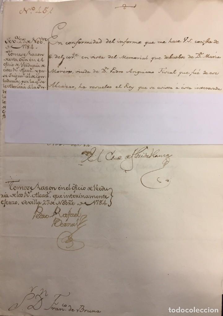 ORDEN DEL CONDE DE FLORIDABLANCA AYUDA DE COSTA A LA VIUDA DEL FISCAL DE LOS REALES ALCAZARES (Coleccionismo - Documentos - Manuscritos)
