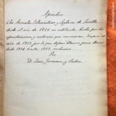 Manuscritos antiguos: ANNALES ECLESIATISCOS Y SEGLARES DE SEVILLA DESDE EL AÑO 1726.LUIS GERMÁN Y RIBON . Lote 148521506