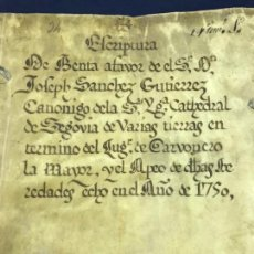 Manuscritos antiguos: 1710. PERGAMINO. SEGOVIA, CARBONERO LA MAYOR. 2 SELLOS SEGUNDOS1748 Y 1750.. Lote 148809226