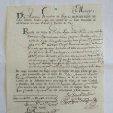 Manuscritos antiguos: DOCUMENTO.CARTA DE PAGO, TUY 1803. PONTEVEDRA, GALICIA.. Lote 149213380