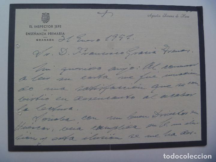 CARTA DEL INSPECTOR JEFE DE ENSEÑANZA PRIMARIA DE GRANADA . DE LUTO , 1951. MANUSCRITA (Coleccionismo - Documentos - Manuscritos)